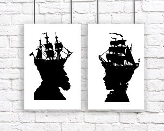 Large Captain Nautical Silhouette Print Set Pirate Ship Black and White Beach House Decor