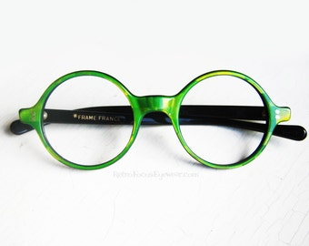 French Round Eyeglass Frames Vintage Eyewear Green Checkered Iridescent Mosaic made in France  360 Degree Back Thennish Vintage