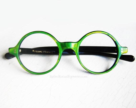 Eyeglasses Frames Green : French Round Eyeglass Frames Vintage Eyewear Green Checkered