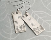 sterling silver leaf earrings, sterling silver earrings, leaf earrings, stamped silver earrings, nature earrings, fall earrings, leaves