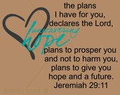 Jeremiah 29 11 For I know the Plans, Christian Scripture Decal, Bible Verse Wall Art, Religious, Wall Art Words Vinyl Lettering Decal