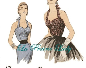 Repro Vintage Pattern Halter Top 50s No 9 Repro on Printable PDF Size B34 and 36