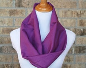 Lightweight Cotton Voile Cowl Scarf -  Purple