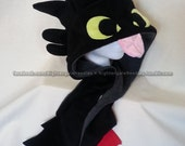 Toothless HTTYD Scoodie - Handmade Fleece Dragon Hat