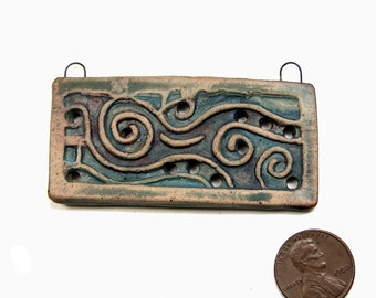 One of a Kind Reversible Handmade Ceramic Stoneware Rectangular Pendant Finished with Terra Sigillata & Gilders Paste, Jewelry Component
