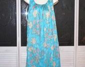 Vintage Hippie Psychedelic Night Gown Flower Power Tie Dye Nightgown Dress