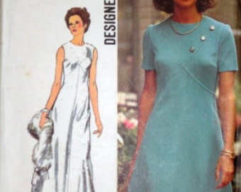 Vintage 70's Simplicity 5911 Sewing Pattern, Dress In Two Lengths, Size 14, Bust 36