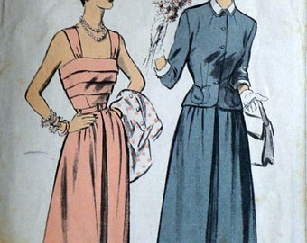 Vintage 50's Advance 5463 Sewing Pattern, Misses' Sundress And Jacket, Size 14, 32 Bust, 1950's Fashion