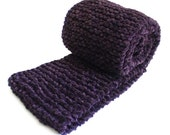 Purple Infinity Scarf / Knit Infinity Scarf / Dark Purple Knit Cowl / Hand Knit Violet Scarf / Knitted Circle Scarf
