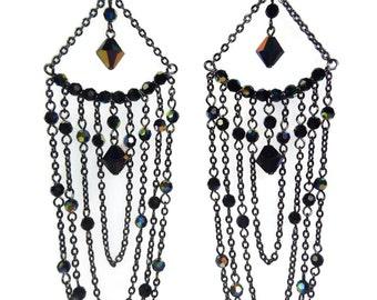 The Night Queen - Grey/Black Earrings - Swarovski Crystal/Gunmetal Chain Earrings - Mishimon Designs