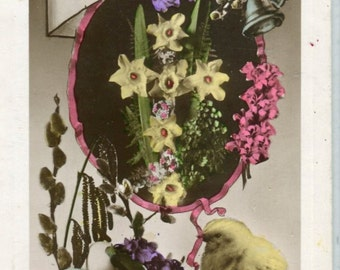 Easter Postcard - Vintage Easter  Postcard,  Wishes at Easter Time, Real Photograph, Rppc