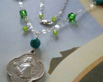 Saint Charles Borromeo of Mission Carmel Necklace with vintage medal