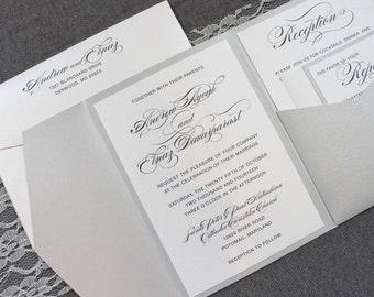Silver Wedding Invitations, Pocket Invitation for Wedding, Traditional Wedding Invitations, Modern Wedding Invitations   Elnaz & Andrew