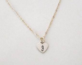 Initial Heart Necklace, Mixed Metal Initial Necklace, Personalized Necklace, Hand Stamped Necklace, Gold and SilverJewlerly
