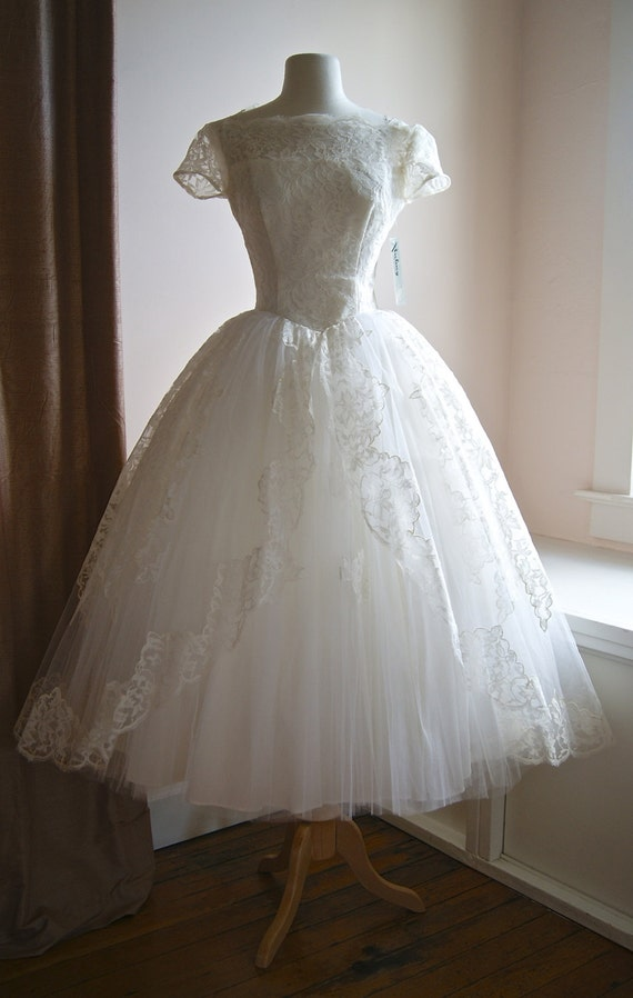 50s wedding dress vintage 1950s tea length lace and tulle