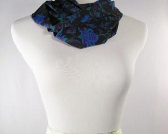 Infinity Scarf - Waterfall Scarf - Blue Black Green Purple Floral Print - Silky Crepe Scarf - Long Cowl - Floral Leaf Print Infinity Scarf