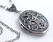 Spiritual Adornment - Etched Silver Locket