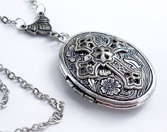 Spiritual Adornment - Etched Silver Locket