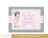 Pink and Grey Princess Baby Shower Invitation Crown Burlap Lace and Pearls Sprinkle Invite Printable | Printed