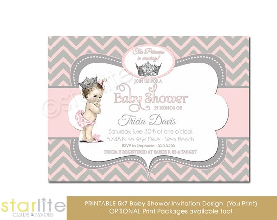 baby shower invitation girl pink and gray princess crown chevron, Baby shower invitations