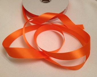 Orange Ribbon, Trim,  Accessories, Sew, Glue, Embellishment, Costumes, Scrapbooking, Halloween, Fall Color, Craft Supply, Bows, Per 6 Yards