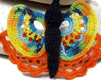 Crochet Brooch Fiber Brooch Irish Crochet Butterfly Pin Orange Blue Yellow Blue Black Green