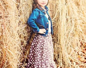 Maxi Skirt, tiered skirt, bohemian skirt, BOHO, Spring skirt, toddler skirt, long skirt, sizes 18 months to 8Y