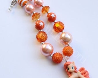 Peachy Pie Chunky Necklace Rainbow Dash