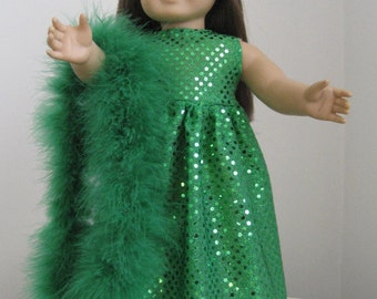 Doll Clothes-Made For American Girl Dolls, Green Sparkle Dress and Boa Fits AMERICAN GIRL DOLLS