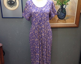 Purple rayon festival dress. April Cornell, Pudding Shop. Novelty print.