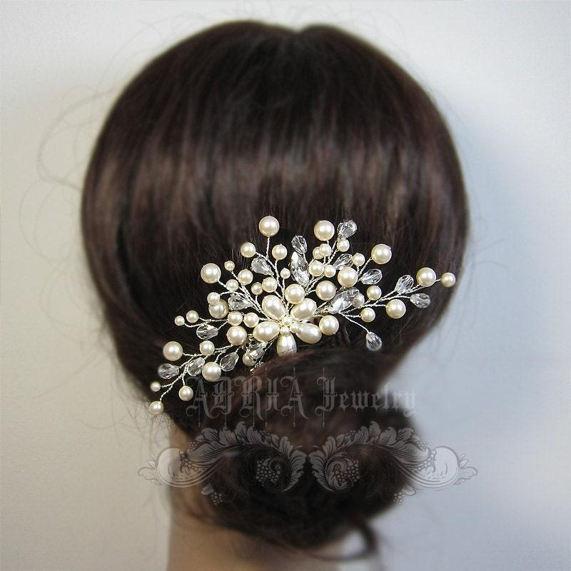 Wedding Hair Accessories Swarovski Pearls by adriajewelry ... - photo #30