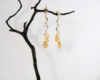 Sterling Silver Dangle Post Earrings with Citrine RKS468