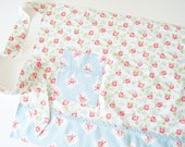 Half Apron - Floral Wrap with Scattered Roses and Blue Rosie Dot