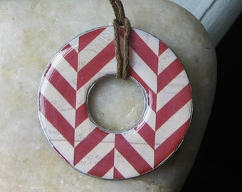 Stunning Deep RED Stripes Chevron Upcycled Paper Washer Hardware Pendant Necklace nautical