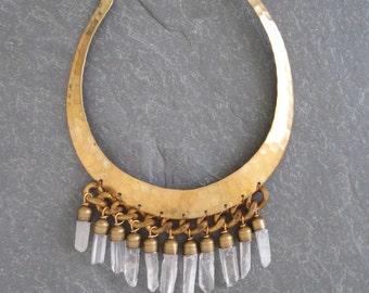 Crystal Quartz Brass Hammered Collar