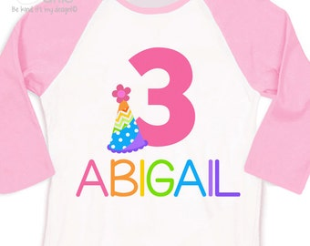 Birthday girl shirt rainbow party hat girl birthday party personalized raglan style shirt