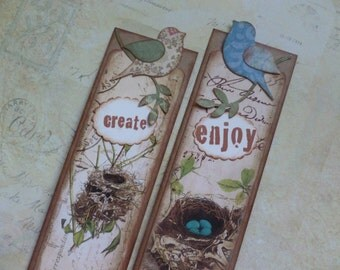 Bookmarks, birds and nests, vintage style, nature themed, birdies, inspirational, hand stamped, book club gifts - set of 5