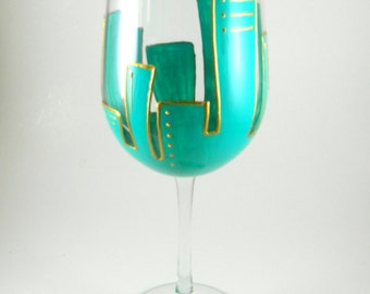 Art Deco Hand Painted Wine Glass, Turquoise, Gold