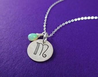 Silver Initial Necklace, Personalized Birthstone necklace, Opal necklace, Mothers necklace, october birthstone, custom jewelry