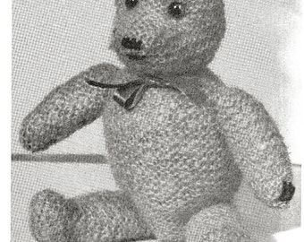 Teddy Bear, Vintage Knitted Toy. Digital Pattern