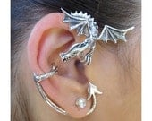 Dragon Ear Cuff Silver - Dragon Guardian Ear Wrap - Dragon Earring - Silver Dragon - Game of Thrones Inspired Jewelry - Dragon Jewelry