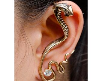 Snake Ear Wrap Bronze Cobra Ear Wrap Snake Ear Cuff Gothic Jewelry Steampunk Ear Cuff Steampunk Jewelry Non Pierced Earring Wrap Snake Cuff