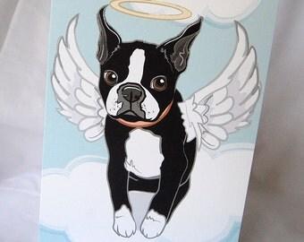 Angel Boston Terrier Greeting Card