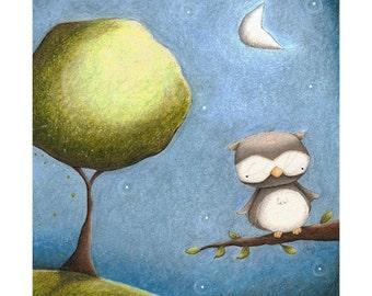 """art print - children's wall art - boy - owl - moon - """"Owl by Moonlight"""""""