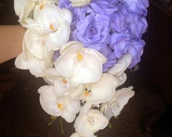 Unique asymmetrical Cascading Bride Bouquet - Pick Your Own Rose Color!