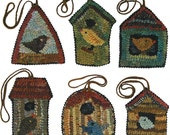 Birdhouse Paper Patterns PDF for rug hooking and punchneedle