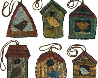 Birdhouse Patterns PDFs for rug hooking and punchneedle