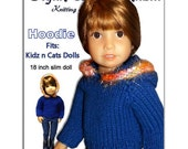 Knitting Pattern fits Kidz and Cats Dolls. Hoodie Sweater.  Instant Download 447