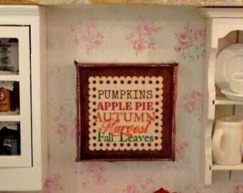 Fall  Autumn Dollhouse Miniature Sign-