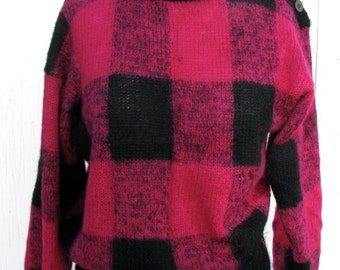 1980s Pink & Black Plaid Mohair Sweater